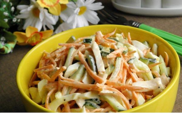 Салат с корейской морковью картофелем курицей