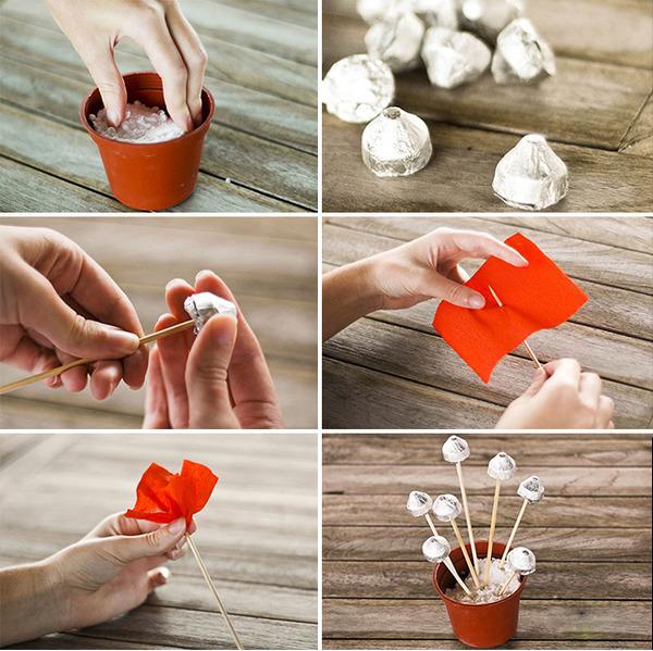 Горшочек из конфет понравится маленькому сладкоежке