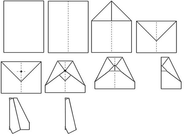 Поэтапная схема сборки бумажного самолётика