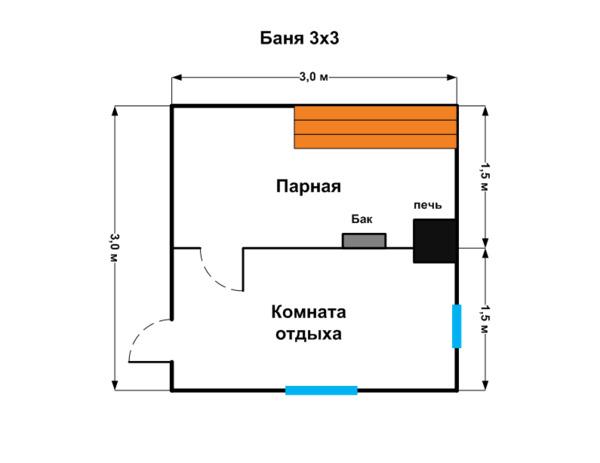 Планировка бани 3х3 м
