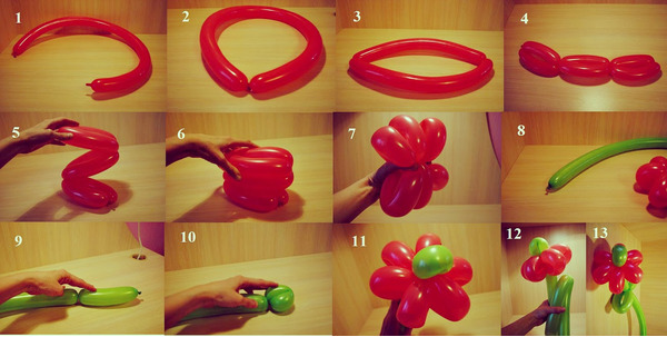 Схема поэтапного скручивания шариков в цветок
